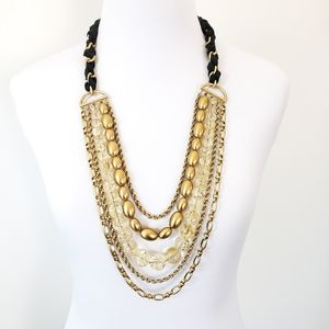 Trifari Multi Strand Layer Necklace Gold + Black